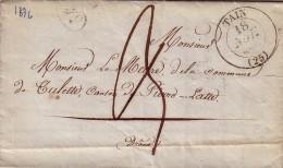 DROME - TAIN - T13 DU 18-11-1836 - LETTRE POUR LE MAIRE DE TULETTE - AVEC TEXTE. - Marcophilie (Lettres)