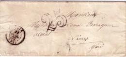 DROME - TAIN - T15 DU 11-7-1852 - TAXE DOUBLE TRAIT 25 - PETITE ENVELOPPE SANS TEXTE. - Marcophilie (Lettres)