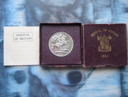 UK British 1951 Festival Of Britain 5 Shilling Crown King George VI Coin Boxed - 1902-1971 : Post-Victorian Coins