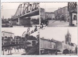 DAMAZAN (47) Le Pont Sur La Garonne .Place Du Marché .Gendarmerie Et Le Canal .La Place - Damazan