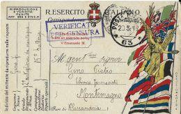FRANCHIGIA POSTA MILITARE 63 1918 VESTONE X MONTEMAGNO - 1900-44 Vittorio Emanuele III