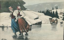 NO NORVEGE DIVERS / Deux Norvégiennes Qui Patinnent Sur Le Lac / CARTE COULEUR - Noruega