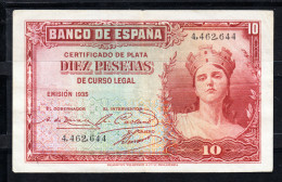 REPUBLICA ESPAÑOLA 1935 10 Pts. SIN SERIE MATRONA CON CORONA MURAL    MBC..B164 - [ 2] 1931-1936 : Republic