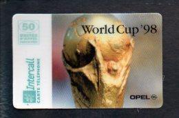 Télécarte Prépayée Intercall  50 Unités ( 800 Ex ) : ( Pas De Code ) Coupe Du Monde Foot France 1998,World Cup 98,Opel - Francia