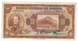Bolivia 20 Bs. 1928, VF+, Free Ship. To USA. - Bolivia