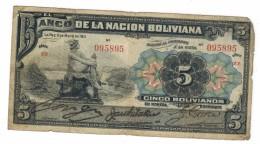 Bolivia 5 Bs. 1911, Used, See Scan, ZZ Series , Free Ship. To USA. - Bolivia