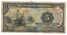 Bolivia 5 Bs. 1911, Used, See Scan, C Series , Free Ship. To USA. - Bolivia