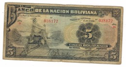 Bolivia 5 Bs. 1911, Used, See Scan, D Series , Free Ship. To USA. - Bolivia