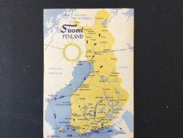 Landkarte Finnland Mit Verkehrsverbindungen---mit 15+ 2 Mk  Olympiade Briefmarke Und - Stempel - Sommer 1952: Helsinki