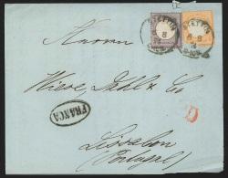 Allemagne - L. Affr. 1/4Gr + 1/2Gr (dft) Càd STETTIN/1874 Pour LISBON + PD + Marque Ovale FRANCA - Deutschland