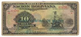 Bolivia, 10 Bs, 1911, Overprint, Used, See Scan,   Free Ship. To USA. - Bolivia