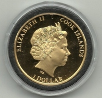 2013 - Cook Island 1 Dollar - Placcato Oro, - Isole Cook