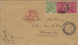WWI -lettre De Basra Affr. 2 1/2 A. Oblit. London F.S.21 Censure D Rouge Pour Marseille - 1911-35 Roi Georges V