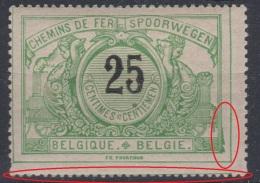BELGIQUE - Chemins De Fer - 1895 - ** - COB TR18  25c - ANOMALIES - - Bahnwesen