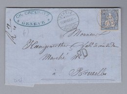 Schweiz Sitzende Helvetia 1868-07-18 Brief Sitzende 30Rp Genf Nach Bruxelles - 1862-1881 Helvetia Seduta (dentellati)