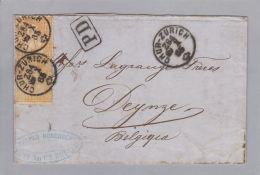 Schweiz Sitzende Helvetia Rüti Chur-Zürich 1865-10-28 ü.F N.Belg.2x20Rp. - 1862-1881 Sitzende Helvetia (gezähnt)