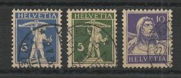 SUISSE - YVERT N° 241a/243a  PAPIER GAUFRE OBLITERES - COTE = 20 EURO - - Suisse