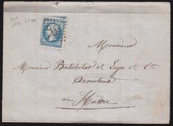 France - N°22 Piquage à Cheval Sur LaC Obl. 1867 Anduze Pour Le Havre - 1849-1876: Période Classique