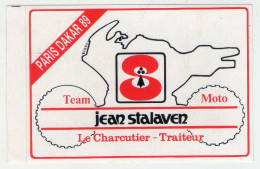 . AUTOCOLLANT .  STICKER .  PARIS  DAKAR  89. TEAM  MOTO . JEAN STALAVEN . LE CHARCUTIER -TRAITEUR .  1989 - Adesivi