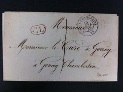 CARTA DE GEVREY CHAMBERTIN 1849 20 MARCA CL EN ROJO ENMARCADA RECTANGULO MARCA B DENTRO CIRCULO NEGRO - Marcofilia (sobres)