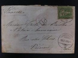CARTA DE VANDOEUVRE A VIENNE 1876 AMBAS EN NEGRO MARCA EN TRANSITO LYON 1876 PD EN NEGRO Y MARCA EN ROJO SUISSE LYON - Marcofilia (sobres)