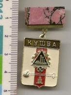 Soviet Symbol - The Emblem Of The City Of Kushva - Mineral Rhodonite -  №11 - Meteorites