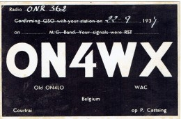 Ancienne Carte QSL De ON4WX, (old ON4LO), P. Castaing, Courtrai Kortrijk Belgique (22/9/1937) - Non Classés