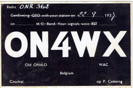 Ancienne Carte QSL De ON4WX, (old ON4LO), P. Castaing, Courtrai Kortrijk Belgique (22/9/1937) - Timbres