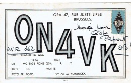 Ancienne Carte QSL De ON4VK, M. Koninckx, Rue Juste Lipse, Bruxelles 11/2/1938 - Non Classés