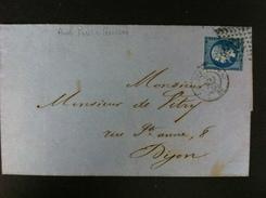 CARTA CON EL 22 DE PARIS 1860 A DIJON 20 AMBAS EN NEGRO AL DORSO MATASELLO AMBULANTE PARIS A AUXERRE  G RARO - Marcofilia (sobres)