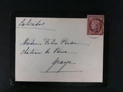 CARTA DE LUTO CON 54 DE LISIEUX 1876 A GRAYE CALVADOS AL DORSO POCO LEGIBLE AMBAS EN NEGRO - Marcofilia (sobres)