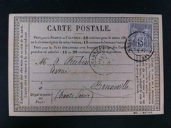 CARTE POSTALE CON EL 66 DE CHAMBERY A BONNEVILLE 1876 89 EN NEGRO - Marcofilia (sobres)