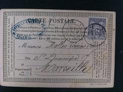 CARTE POSTALE CON EL 66 DE VALENCE SUR RHONE A MARSEILLE 1876 AMBAS EN NEGRO MATASELLO COMERCIAL EN EL FRENTE DE VALENCE - Marcofilia (sobres)