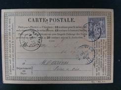 CARTE POSTALE CON EL 66 MATASELLO DE MAGHY EN VEXIN 1876 A MARINES AMBAS EN NEGRO - Marcofilia (sobres)