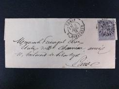 CARTE POSTALE CON EL 66DEL CORREO INTERIOR DE PARIS MARCA EN NEGRO PARIS 6 JULIO 1876 R. BONAPARTE - Marcofilia (sobres)