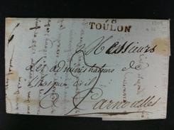 CARTA DE TOULON A CARNOULLES 1809 MARCA 78 TOULON EN NEGRO BIEN ESTAMPADO MARCA MANUSCRITA 7 DE PORTEO NEGRO - 1801-1848: Precursores XIX
