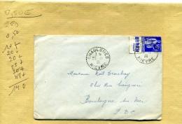 ENVELOPPE OBLITEREE TYPE PAIX BANDE PUBLICITAIRE BYRRH CHAULGNES NIEVRE TYPE PAIX 25 11 1939 - 1932-39 Paix