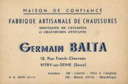 96889 - Carte Publicitaire   Fabrique Artisanale De Chaussures   à  Vitry Sur Seine  (94) - Publicité