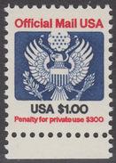 !a! USA Sc# O132 MNH SINGLE W/ Bottom Margin - Great Seal - Officials