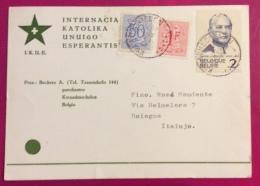 ESPERANTO   BELGIO BELGIQUE  CARTOLINA PER BOLOGNA 1962 - Esperanto