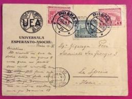 ESPERANTO  CECOSLOVACCHIA PRAGA PRAHA UNIVERSALA ESPERANTO - ASOCIO  PER CARTOLINA PER  LA SPEZIA  1928 - Esperanto
