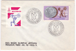 457 Olympiques 1980 Moscow Olympic Mascot Misha Teddy Bear Budapest 4 1980 Weightlifting Label Vignette - Ete 1980: Moscou