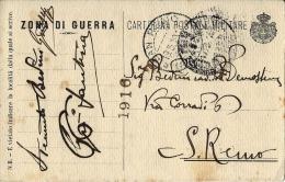 FRANCHIGIA POSTA MILITARE 1916 X SAN REMO - 1900-44 Vittorio Emanuele III