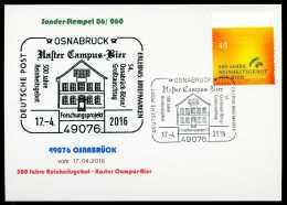 93076) BRD - Karte - SoST 06/060 In 49076 OSNABRÜCK Vom 17.04.2016 - 500 Jahre Bierreinheitsgebot, Haster Campus-Bier - BRD