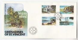 1981 ST VINCENT GRENADINES FDC  Stamps BEQUIA ISLAND ST VINCENT  , POST OFFICE, SAILING SHIP, ETC  Cover - St.Vincent & Grenadines