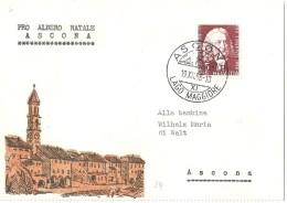 """Motiv Karte  """"Pro Albero Natale, Ascona""""           1958 - Brieven En Documenten"""