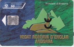 AND-095 TARJETA DE ANDORRA DE VEDAT RESERVA D´ENCLAR (REBECO-ISARD) NUEVA-MINT - Andorra