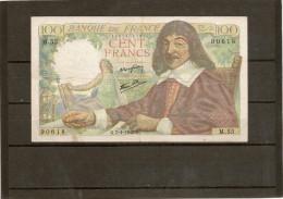 Billet De 100 Francs Descartes Du 7 1 1943 Serie M55 En état TTB - 1871-1952 Circulated During XXth