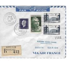 Premier Vol Paris- Bogota Colombie Recommandeé  412,   7.12.1952 - Poste Aérienne