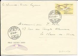 SUISSE - 1949 - POSTE AERIENNE - YVERT N° 44 LETTRE - COTE OBLITERE =  50 EUROS - Poste Aérienne
